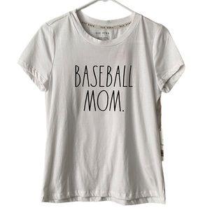 Rae Dunn Baseball Mom White T-shirt NWT